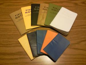Notebooks used in 2015. The five small Moleskine's contain nothing but haiku and drafts of haiku. The six Field Notes notebooks contain some haiku and other writing.